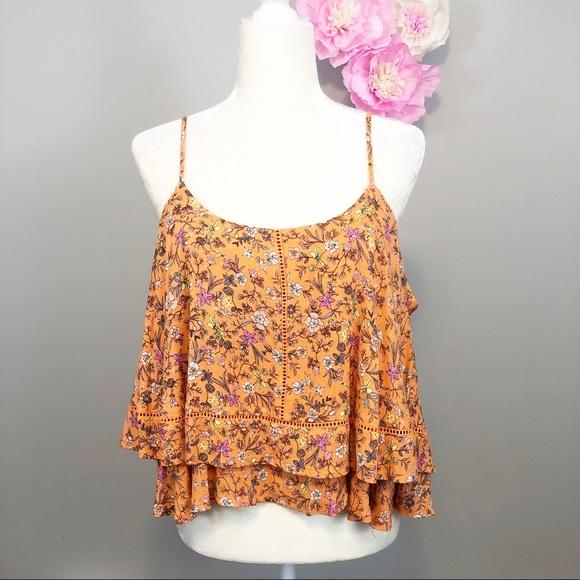 2c2bc3f8810294 Coco + Jaimeson Tops | Coco Jaimeson Orange Floral Tiered Ruffle ...